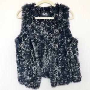 New 525 America Luxe Blue Drape Rabbit Fur Vest M